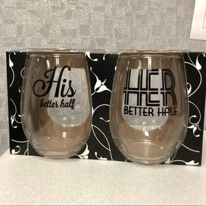 His Better Half and Her Better Half Wine Glasses